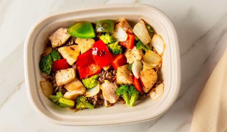Chicken Peppers and Onions Bowl