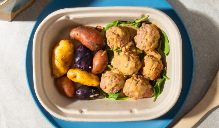 Tumeric Meatballs and Roasted Potatoes