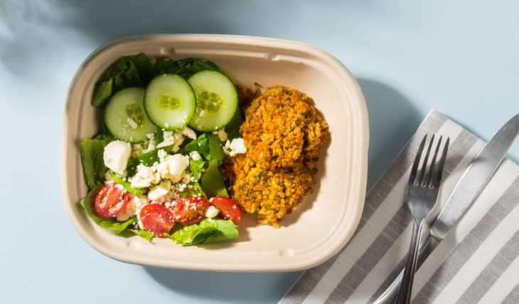 Greek Salad and Veggie Falafel